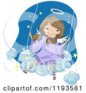 Cartoon Of A Cute Angel Girl Swinging On A Cloud Royalty Free Vector Clipart