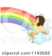Cartoon Of A Cute Angel Girl Sitting On A Rainbow Cloud And Pointing Royalty Free Vector Clipart by BNP Design Studio