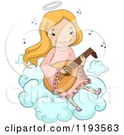 Cartoon Of A Happy Blond Angel Girl Playing A Lute On A Cloud Royalty Free Vector Clipart by BNP Design Studio