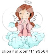 Cartoon Of A Cute Angel Girl Praying On A Cloud Royalty Free Vector Clipart
