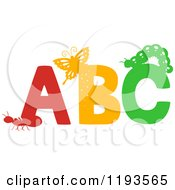 Cartoon Of Ant Butterfly And Caterpillar Silhouettes On ABC Royalty Free Vector Clipart