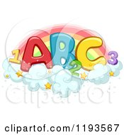 Cartoon Of Colorful Abc And 123 On Starry Clouds Against A Rainbow Royalty Free Vector Clipart
