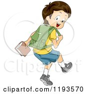 Cartoon Of A Happy Brunette Caucasian Boy Walking With A Backpack And Book In Hand Royalty Free Vector Clipart