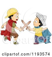 Cartoon Of Playful Boys Battling With Wooden Swords And Wearing Costumes Royalty Free Vector Clipart by BNP Design Studio