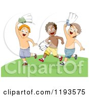 Cartoon Of Summer Boys Running In A Field With Their Shirts Off Royalty Free Vector Clipart