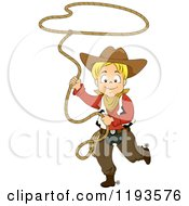 Cartoon Of A Happy Blond Cowboy Swinging A Lasso Rope Royalty Free Vector Clipart by BNP Design Studio