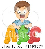 Cartoon Of A Happy Brunette School Boy Molding Clay Abc Letters Royalty Free Vector Clipart