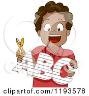 Cartoon Of A Happy Black School Boy Holding An Abc Cutout Royalty Free Vector Clipart by BNP Design Studio
