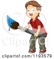 Cartoon Of A Happy Brunette Caucasian Boy Holding A Giant Paintbrush With Blue Paint Royalty Free Vector Clipart
