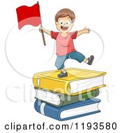 Happy Boy With A Red Flag On A Stack Of Giant Books