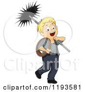 Cartoon Of A Happy Blond Caucasian Chimney Sweep Boy Royalty Free Vector Clipart by BNP Design Studio