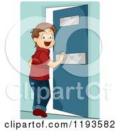 Cartoon Of A Happy Brunette Caucasian Boy Pushing Open A Door Royalty Free Vector Clipart