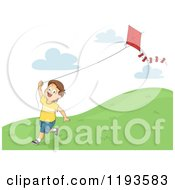 Cartoon Of A Happy Brunette Caucasian Boy Running Down A Hill With A Kite Royalty Free Vector Clipart
