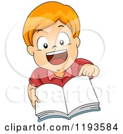 Cartoon Of A Happy Red Haired Caucasian Boy Pointing To And Holding Up A Book Royalty Free Vector Clipart