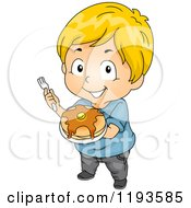 Cartoon Of A Happy Blond Caucasian Boy Holding Up A Plate Of Pancakes Royalty Free Vector Clipart by BNP Design Studio