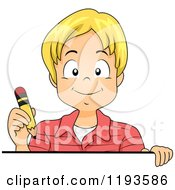 Cartoon Of A Happy Blond Caucasian Boy Holding A Pencil Over A Sign Royalty Free Vector Clipart