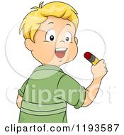 Cartoon Of A Happy Blond Caucasian Boy Writing With A Pencil Royalty Free Vector Clipart