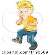 Cartoon Of A Blond Caucasian Boy Gesturing To Be Quiet And Tip Toeing Royalty Free Vector Clipart