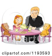 Cartoon Of A Happy Father Playing Tea Party With His Daughter Royalty Free Vector Clipart