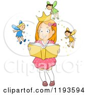 Cartoon Of A Happy Girl Imagining Fairies Putting A Crown On Her Head As She Holds A Book Royalty Free Vector Clipart