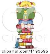 Cartoon Of A Blond Girl Hidden Behind A Book On Top Of A Stack Of Books Royalty Free Vector Clipart by BNP Design Studio