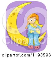 Cartoon Of A Happy Girl Hugging A Star On A Crescent Moon Over Purple Royalty Free Vector Clipart