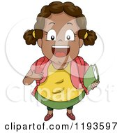 Cartoon Of A Cute Happy Black School Girl Smiling Upwards Royalty Free Vector Clipart