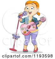 Cartoon Of A Happy Girl Sining And Playing A Pink Guitar Royalty Free Vector Clipart by BNP Design Studio