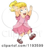 Cartoon Of A Happy Blond Girl Trying To Catch Glitter Or Fairy Dust Royalty Free Vector Clipart