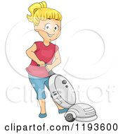 Cartoon Of A Happy Blond Girl Using A Vacuum Royalty Free Vector Clipart by BNP Design Studio