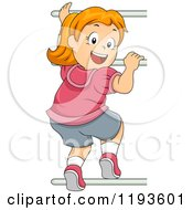 Cartoon Of A Happy Red Haired Girl Looking Back And Climbing Monkey Bars Royalty Free Vector Clipart
