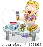 Cartoon Of A Happy Blond Girl Playing In A Toy Kitchen Royalty Free Vector Clipart