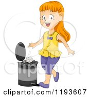 Cartoon Of A Happy Girl Putting Paper In A Trash Can Royalty Free Vector Clipart