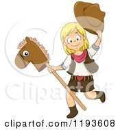 Cartoon Of A Happy Blond Cowgirl Playing With A Stick Pony Royalty Free Vector Clipart by BNP Design Studio