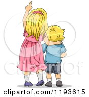 Cartoon Of A Big Sister And Little Brother Looking Up And Pointing Royalty Free Vector Clipart by BNP Design Studio