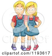 Cartoon Of A Twin Blond Brother And Sister Royalty Free Vector Clipart