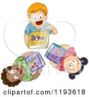 Cartoon Of Diverse Children Looking Up And Holding Books Royalty Free Vector Clipart