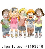 Cartoon Of Excited Diverse Children Taking Photos With Their Gadget Cameras Royalty Free Vector Clipart