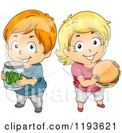 Cartoon Of A Boy Holding Pickles And Girl Holding A Hamburger Royalty Free Vector Clipart
