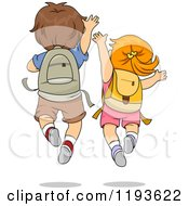 Cartoon Of A Rear View Of An Excited School Boy And Girl Jumping Royalty Free Vector Clipart