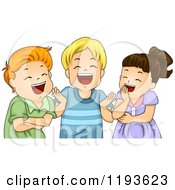 Cartoon Of A Girl And Toy Boys Laughing Royalty Free Vector Clipart