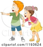 Cartoon Of A Boy And Girl Pointing And Looking To The Left Royalty Free Vector Clipart