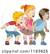 Cartoon Of A Girl And Two Boys Looking To The Right Royalty Free Vector Clipart