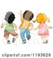 Cartoon Of A Rear View Of Three Children Looking And Pointing Upwards Royalty Free Vector Clipart