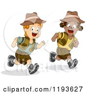 Cartoon Of Running Diverse Children Dressed For A Safari Royalty Free Vector Clipart