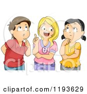 Cartoon Of A Smart Girl And Pondering Friends Royalty Free Vector Clipart