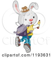 Cartoon Of A Cute Student Rabbit Looking Back And Jumping Royalty Free Vector Clipart