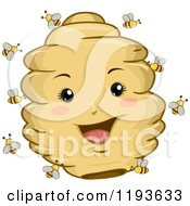 Cartoon Of A Happy Hive Mascot And Bees Royalty Free Vector Clipart by BNP Design Studio