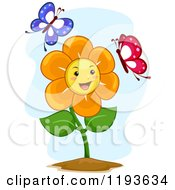 Cartoon Of A Happy Flower Mascot With Two Butterflies Royalty Free Vector Clipart