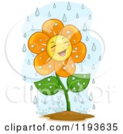 Cartoon Of A Happy Flower Mascot In The Rain Royalty Free Vector Clipart by BNP Design Studio